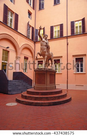 BOLOGNA, ITALY â?? JULY 29, 2014: old medieval house courtyard. Example of medieval design. - stock photo