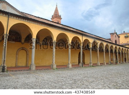 BOLOGNA, ITALY â?? JULY 29, 2014: portico of ss Annunziata church in the city downtown. Example of medieval design. - stock photo