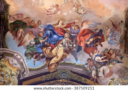 BOLOGNA, ITALY - JUNE 04: Assumption of the Virgin Mary, fresco painting in San Petronio Basilica in Bologna, Italy, on June 04, 2015. - stock photo