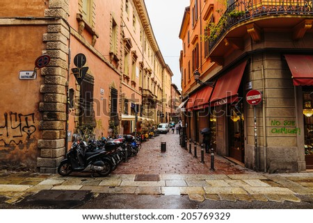 BOLOGNA, ITALY - 25 JUNE, 2014: General view of the downtown streets - stock photo