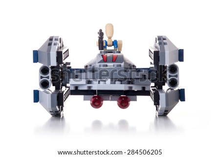 BOLOGNA, ITALY - JUNE 2, 2015: Studio shot of a Star Wars Lego Clone spaceship from movie series. Lego is a popular line of construction toys popular with kids and collectors worldwide. - stock photo