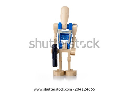 BOLOGNA, ITALY - JUNE 2, 2015: Studio shot of a Star Wars Lego robot minifigure from movie series. Lego is a popular line of construction toys popular with kids and collectors worldwide. - stock photo