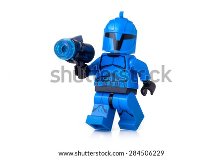 BOLOGNA, ITALY - JUNE 2, 2015: Studio shot of a Star Wars Lego Special Forces Clone Trooper minifigure from movie series. Lego is a popular line of construction toys popular worldwide. - stock photo