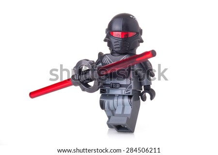 BOLOGNA, ITALY - JUNE 2, 2015: Studio shot of a Star Wars Lego Warrior minifigure from movie series. Lego is a popular line of construction toys popular worldwide. - stock photo