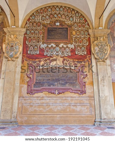 BOLOGNA, ITALY - MARCH 15, 2014: Frescoes and epitaphs from External atrium of Archiginnasio  - stock photo