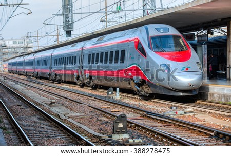 BOLOGNA, ITALY - MARCH 11: High speed train Freccia Rossa connecting main Italy cities, March 11, 2015 in Bologna, Italy.