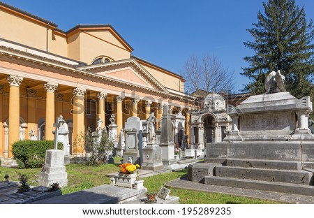BOLOGNA, ITALY - MARCH 17, 2014: Old cemetery (certosa) by St. Girolamo church.