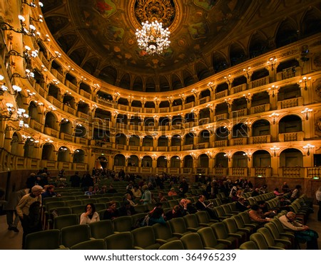 BOLOGNA, ITALY - MARCH 11, 2015: The Teatro Comunale di Bologna is an opera house in Bologna, Italy, and is one of the most important opera venues in Italy
