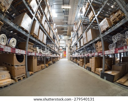 BOLOGNA, ITALY - May 19, 2015: Inside Ikea Bologna. Ikea is present in Italy for 25 years and has opened in Bologna in 1997.