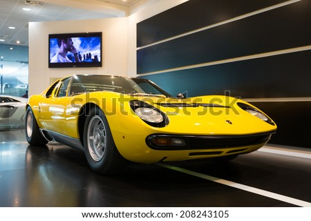 BOLOGNA, ITALY - MAY 20, 2014: Lamborghini Sports car exibition at Bologna Airport. The Miura model was produced by Italian automaker Lamborghini between 1966 and 1973. - stock photo