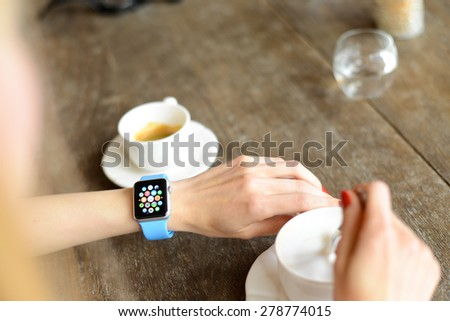 BOLOGNA, ITALY - MAY 17, 2015: the Apple Watch. The first wrist device produced by Apple.  - stock photo