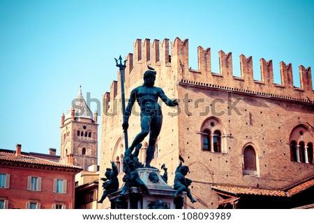 Bologna, Italy: Neptune Statue is a famous monument of the italian Renaissance, located in Bologna most important square, Piazza Maggiore. - stock photo