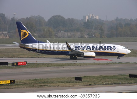 BOLOGNA, ITALY - OCTOBER 29: Boeing 737 NG of Ryanair taxiing on October 29, 2009 at Bologna Airport, Italy. Ryanair is currently the biggest airline in the world by number of int'l passengers yearly. - stock photo