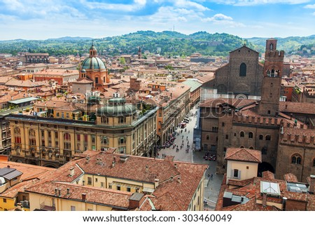 BOLOGNA, ITALY, on MAY 2, 2015. The top view on the old city  - stock photo