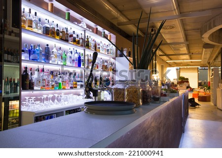 BOLOGNA, ITALY - SEPTEMBER 16, 2014: Be Towers bar in Budrio, Bologna, Italy. This is the most famous bar in Budrio and young boys came from all over the city to its parties. - stock photo