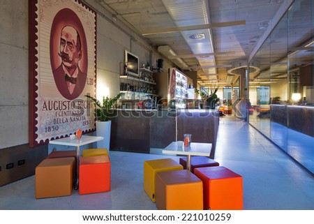 BOLOGNA, ITALY - SEPTEMBER 16, 2014: Be Towers bar in Budrio, Bologna, Italy. This is the most famous bar in Budrio and young people came from all over the city to its parties. - stock photo