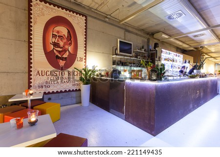 BOLOGNA, ITALY - SEPTEMBER 16, 2014: Be Towers bar in Budrio, Bologna, Italy. This is the most famous bar in Budrio and young people come from all over the city to its parties. - stock photo
