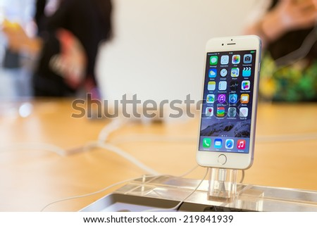 BOLOGNA, ITALY - SEPTEMBER 26 2014: New iPhone 6 by Apple. Pre-orders of the iPhone 6 series exceeded 4 million within its first 24 hours of availability. - stock photo