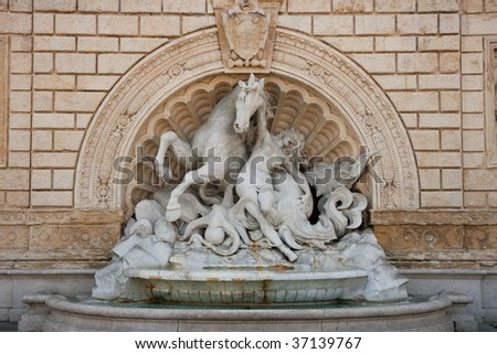 Bologna, Italy. Statue at entry of central city park - stock photo
