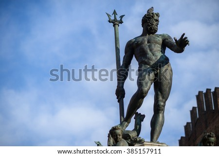 Bologna, Italy, statue of Neptune nude with Trident - stock photo