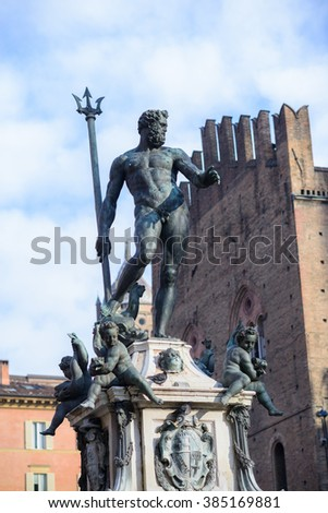 Bologna, Italy, statue of Neptune with Trident - stock photo