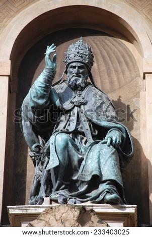 Bologna landmark Pope Gregory XIII statue - stock photo