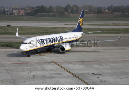 BOLOGNA - OCTOBER 29: Boeing 737 NG of Ryanair on October 29, 2009 at Bologna International Airport. Ryanair is currently the biggest airline in the world by number of international passengers yearly. - stock photo