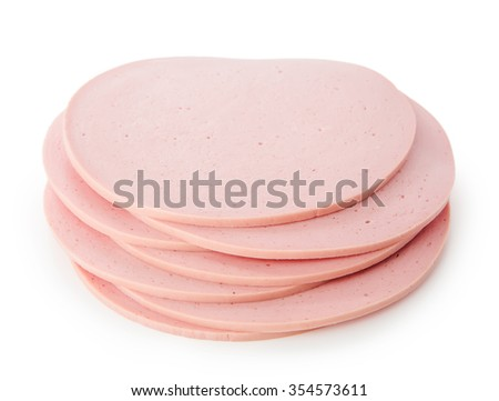 bologna slice isolated on white background cutout - stock photo