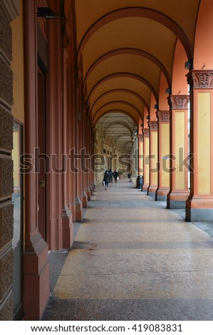 Bologna, the largest city and the capital of the Emilia-Romagna region in Italy - stock photo
