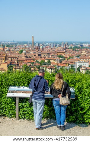 Bologna tourists aerial view sightsee emilia romagna italy - stock photo