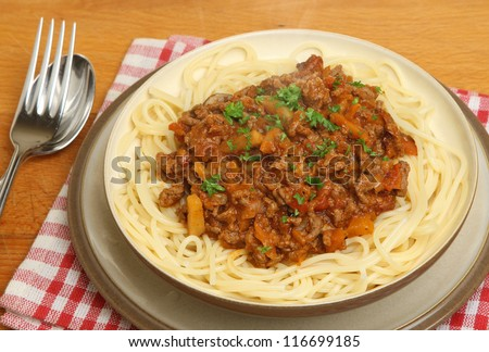 Bolognese sauce with spaghetti