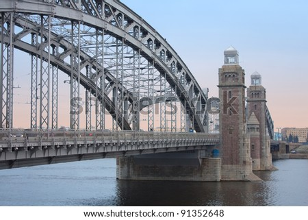 Bolsheohtinskij bridge  Peter the Great, St. Petersburg, Russia. - stock photo