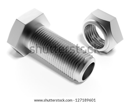 bolt and nut - stock photo