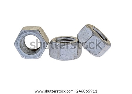 Bolt and nut, isolated on a white background - stock photo