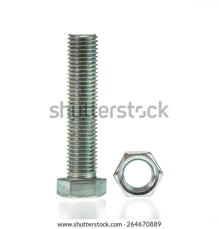 Bolt and nut isolated on white background - stock photo