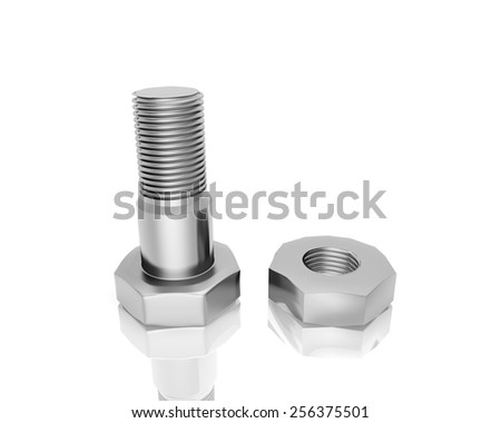 bolt and screw nut  isolated on white background - stock photo