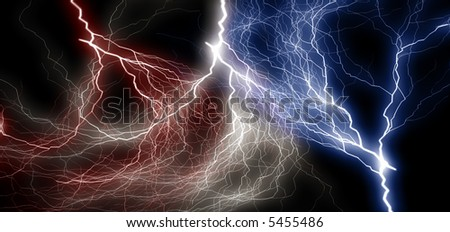 Bolt of electrical charges in USA colors over black background