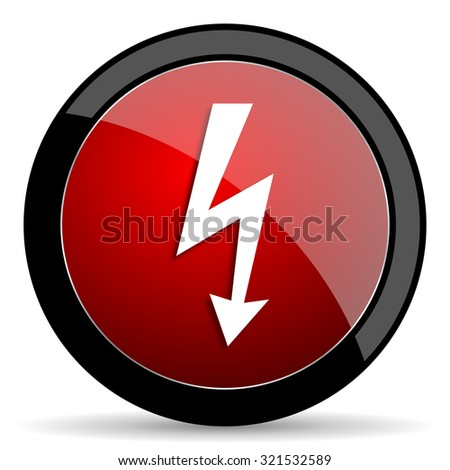 bolt red circle glossy web icon on white background, round button for internet and mobile app - stock photo