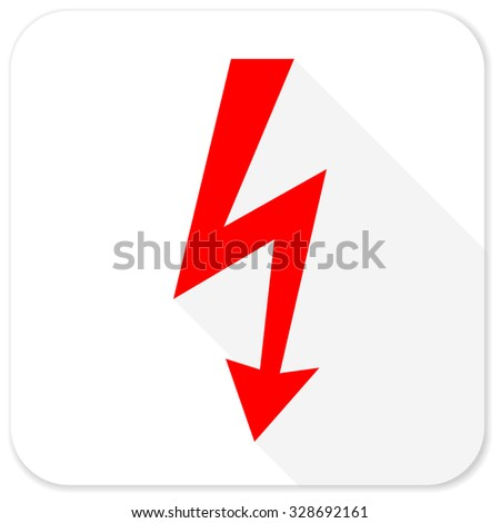 bolt red flat icon with long shadow on white background - stock photo