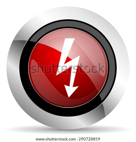 bolt red glossy web icon original modern design for web and mobile app on white background  - stock photo