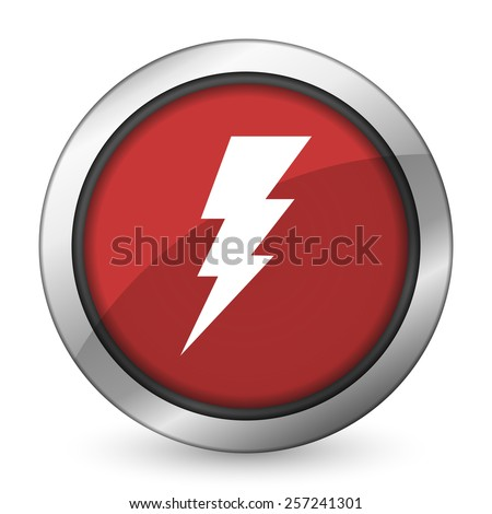 bolt red icon flash sign  - stock photo