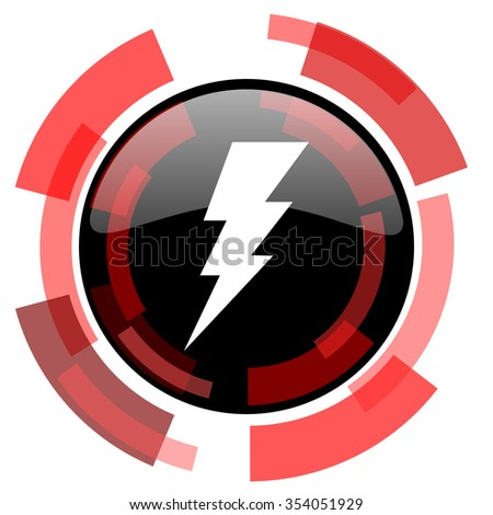 bolt red modern web icon - stock photo