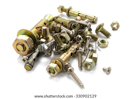 bolt screws and nut isolated on white background - stock photo