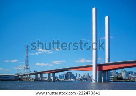 Bolte Bridge and Melbourne CBD skyline from Yarra river. - stock photo