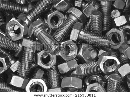 Bolts and nuts a background  - stock photo