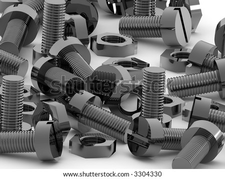 Bolts and nuts. 3d - stock photo