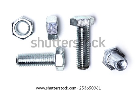 Bolts and nuts on a white background - stock photo