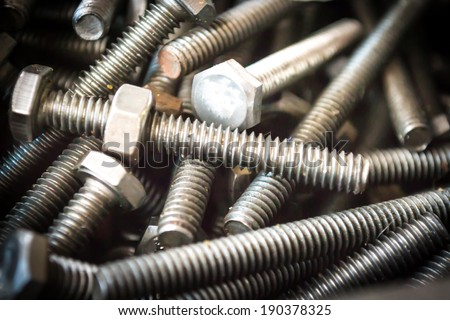 Bolts and screws for technicians in the toolox.