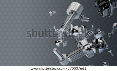 bolts and screws in the air with space for text  - stock photo