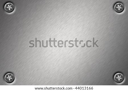 Bolts in brushed steel background - stock photo